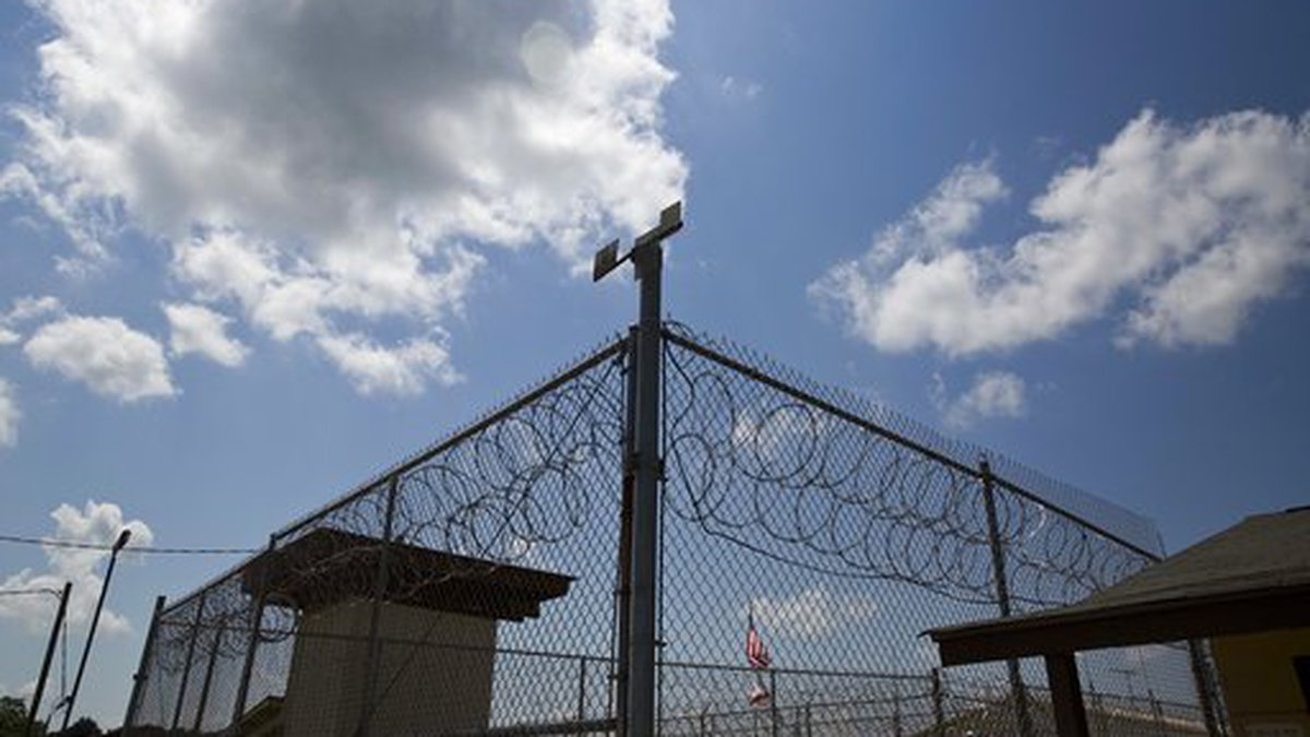 FILE - In this June 18, 2015, photo, a fence stands at Elmore Correctional Facility in Elmore,...