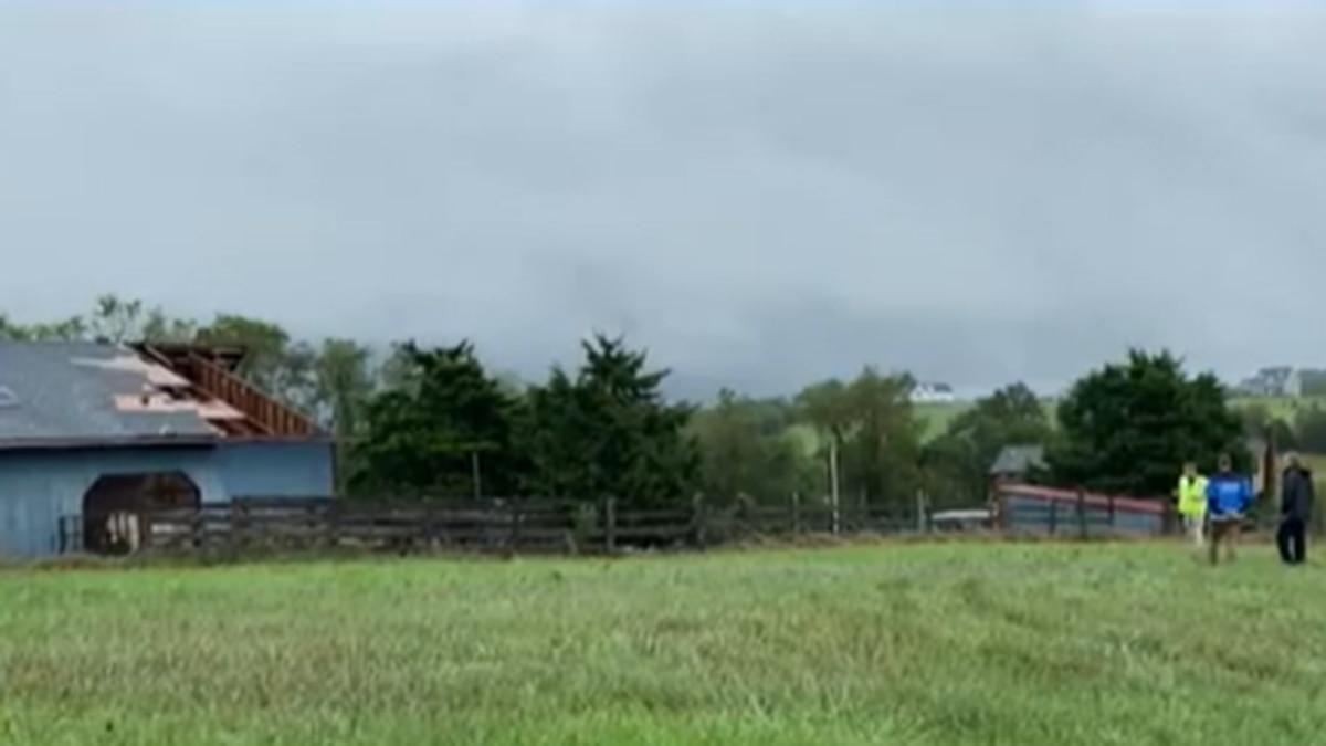 Part of a roof of a barn was ripped off from high winds.