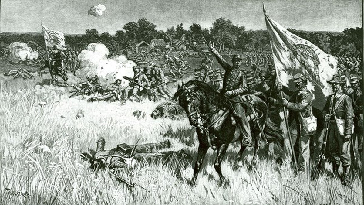 The Battle of First Manassas or the First Battle of Bull Run depicted by Thure de Thulstrup.