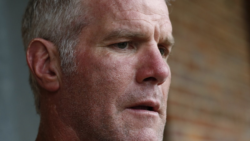 FILE - In this Oct. 17, 2018, file photo, former NFL quarterback Brett Favre speaks with...