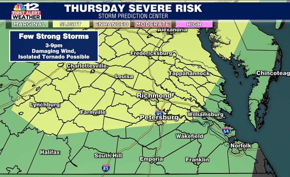Scattered strong storms likely Thursday afternoon and evening