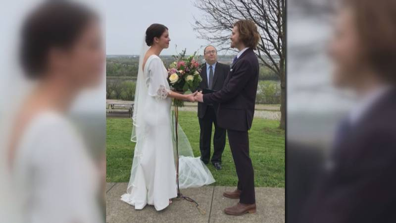 Danica and Ian Lovern marry while streaming ceremony on Instgram live.
