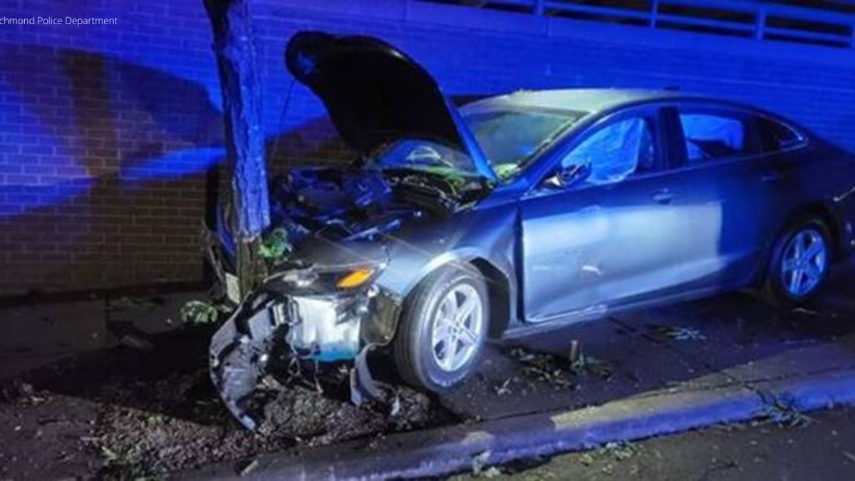 Richmond police charged a driver with reckless driving after hitting a tree on Governor Street.