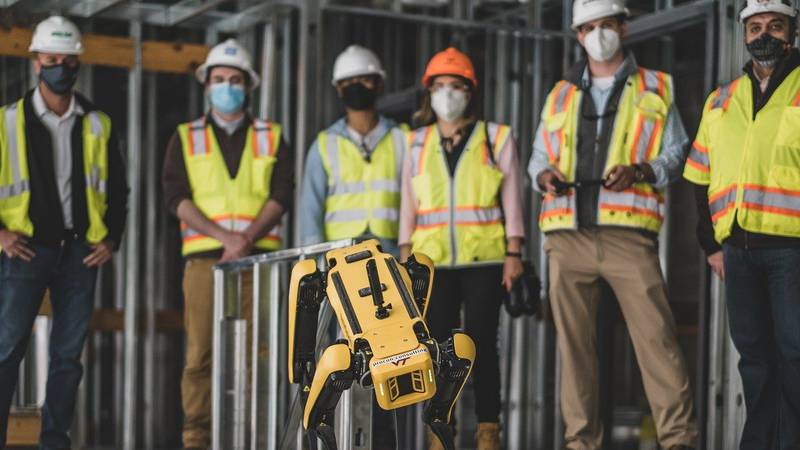 Spot is a mobile robot dog used to help collect data at construction sites on Virginia Tech's...