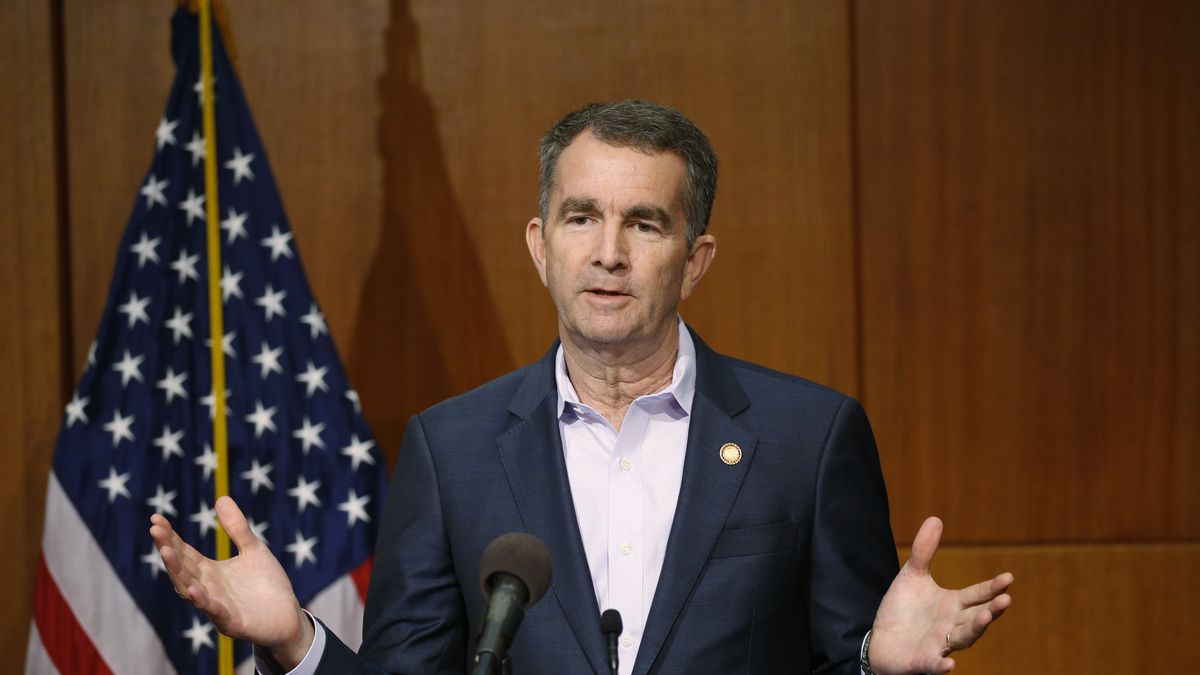 Virginia Gov. Ralph Northam gestures during a news conference at the Capitol Wednesday April 8,...