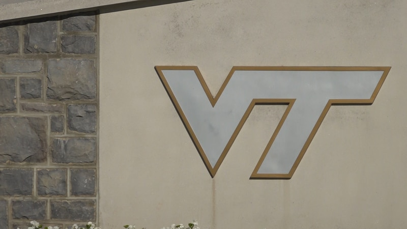 The Virginia Tech logo outside of Lane Stadium on Thursday September 10th, 2021.