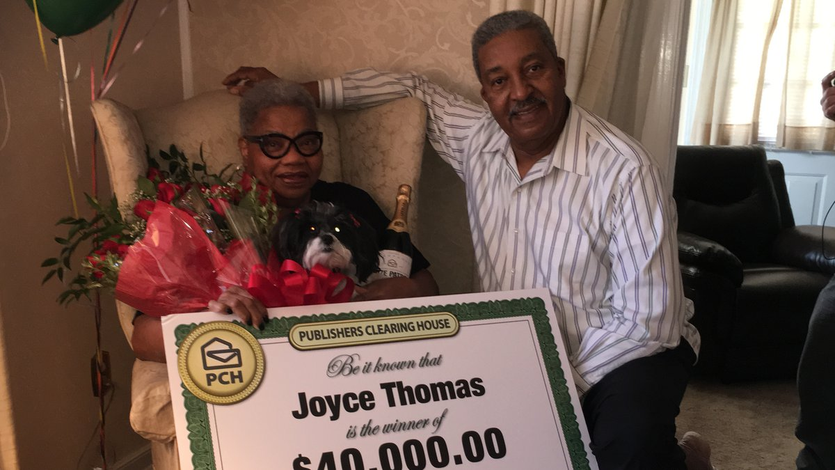 Joyce Thomas winner of Publisher Clearing House prize