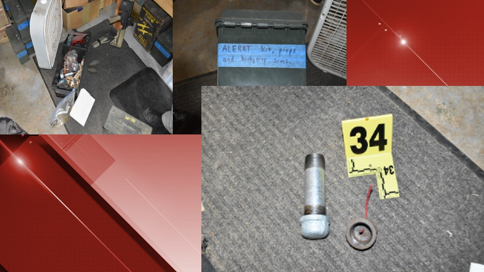 Photos of what the FBI says was a partially assembled pipe bomb in the home of a former police...
