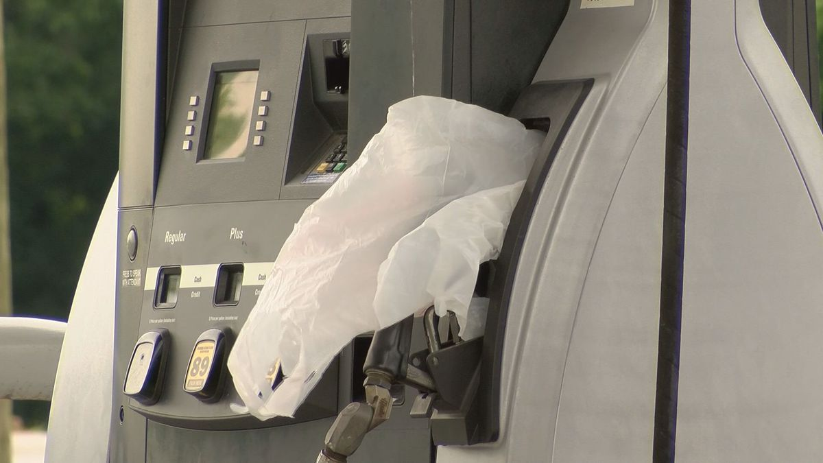 A Savannah gas station put plastic bags over the pumps without fuel.