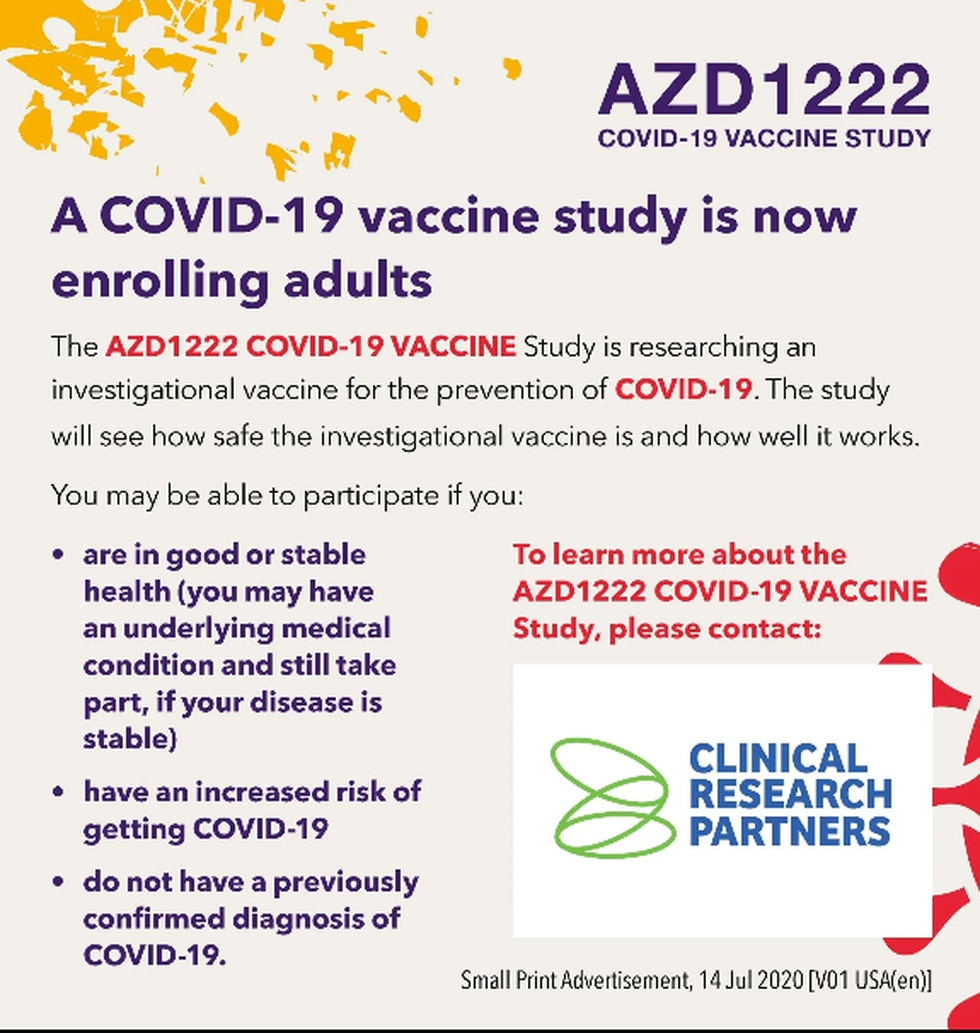 Clinical Research Partners are searching for volunteers to take part in the AstraZeneca/Oxford...