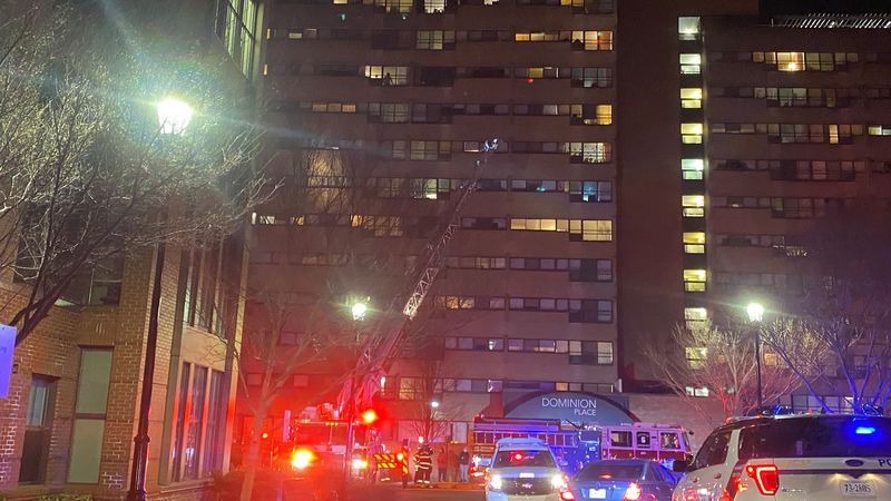 Richmond Fire crews battled an apartment fire at the Dominion Place apartments Saturday night.