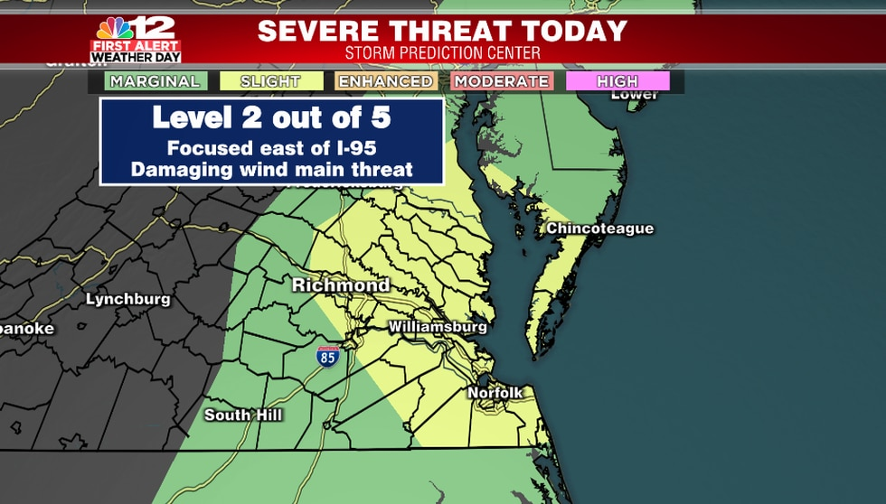 Areas along and east of I-95 have the highest threat for severe storms this afternoon and...
