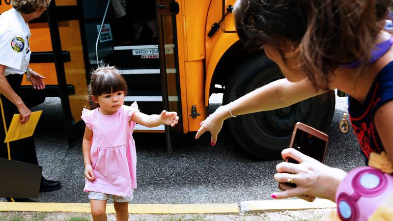 New kindergartners will learn about bus safety and practice getting on and off the bus in...