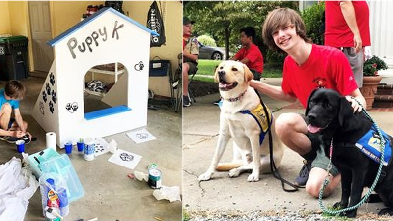 """A Midlothian teen built a """"Puppy Kissing Booth"""" for the Give a Dog a Job' 5k Run/Walk."""
