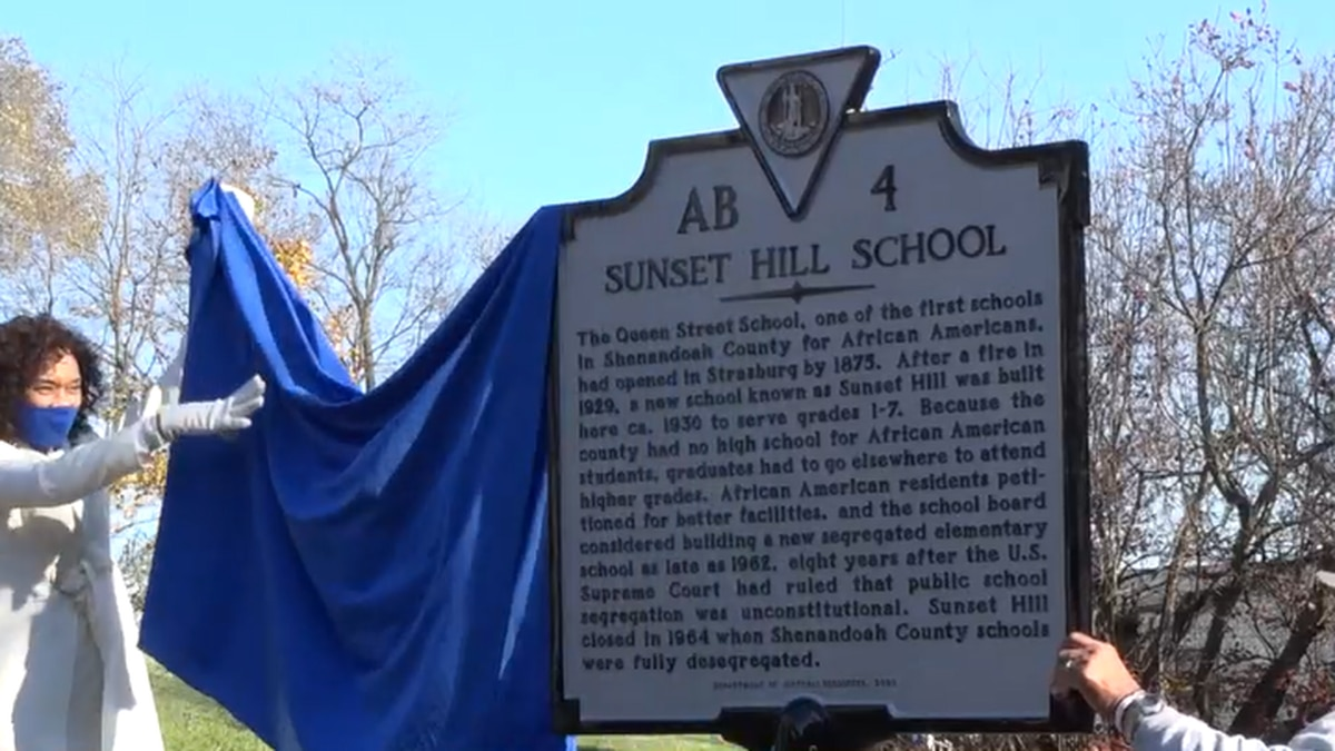 Historical marker placed by Sunset Hill Elementary School in Strasburg.