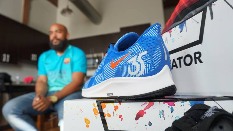 Jarrell Baskfield has a life-long passion for sneakers. (Source: NBC12)