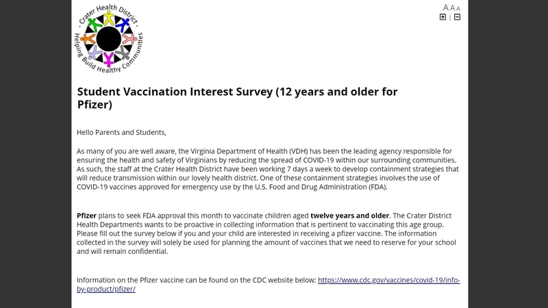 The Crater Health District created a student interest form to gage how many families want their...