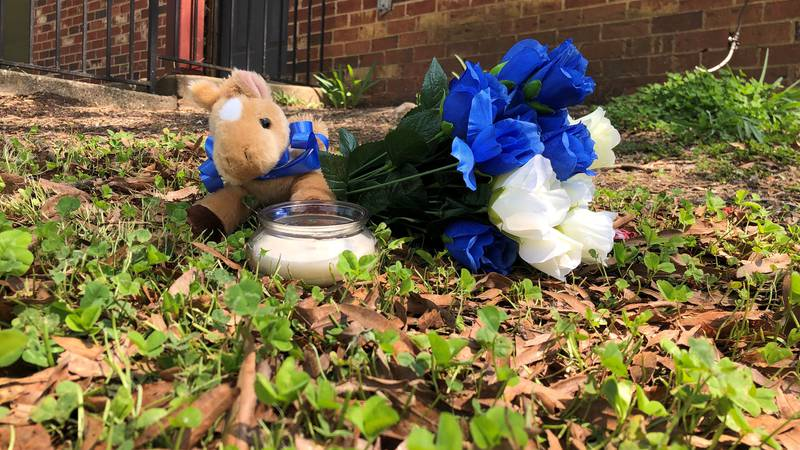 Items left by cousin of the 15 year old who was shot and killed on Thursday.