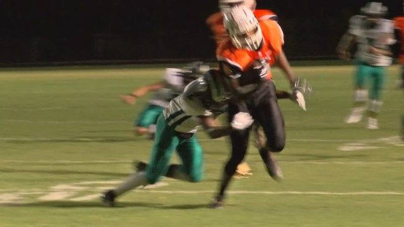 Monacan's Dallas Brown breaks tackles on TD catch