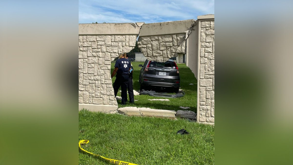 Petersburg police said a vehicle went through a wall at Poplar Springs Behavioral Hospital.