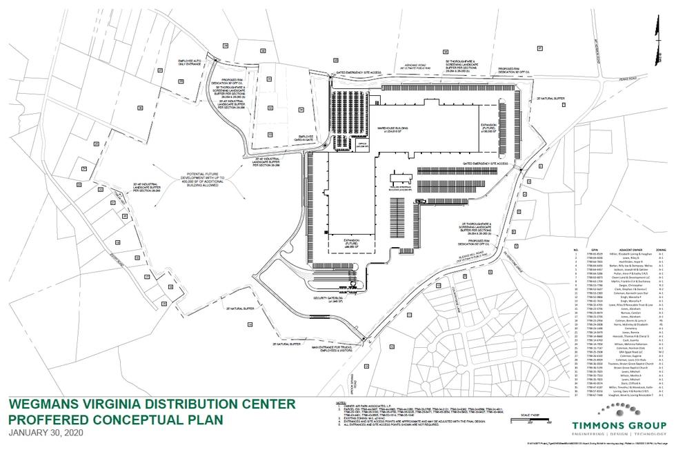 Conceptual plans for the Wegmans distribution center