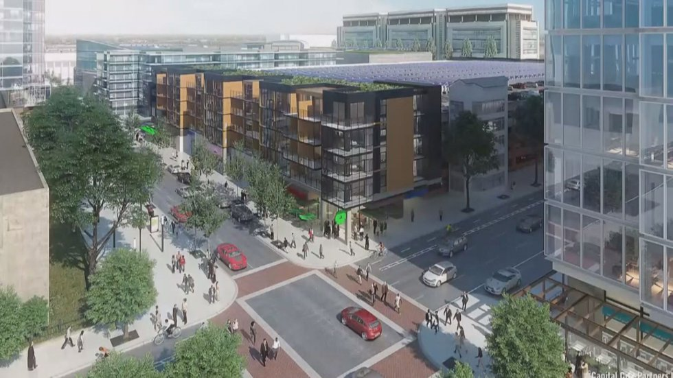 One of several renderings released of the completed Navy Hill development.
