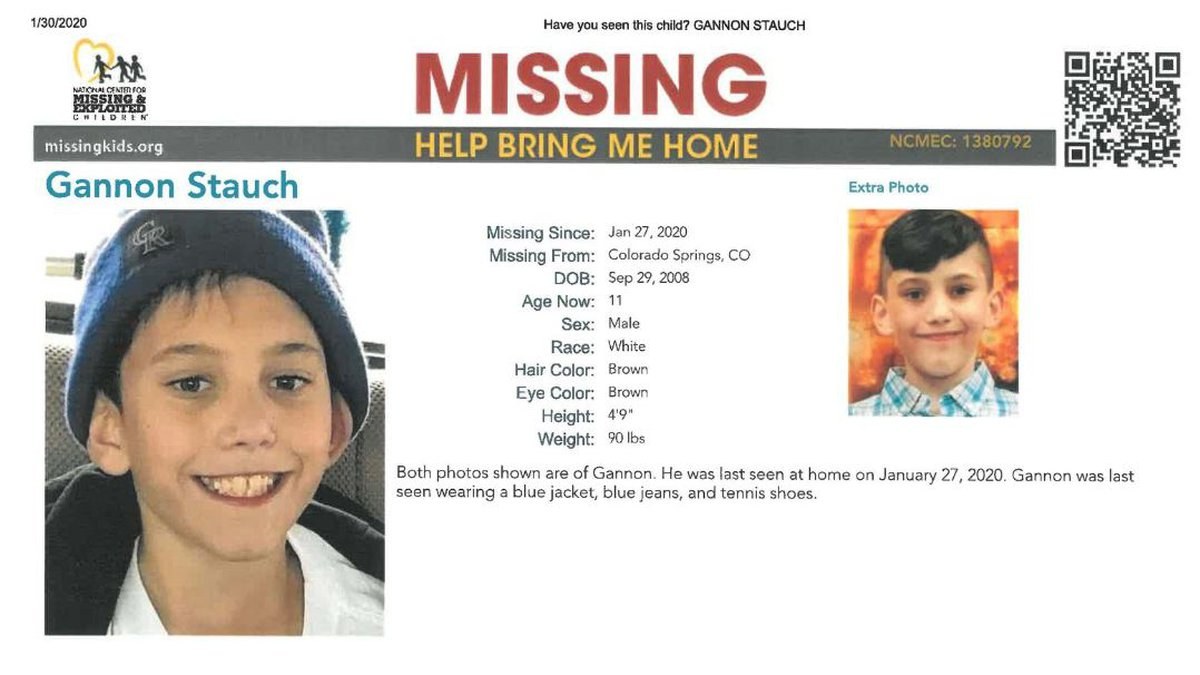 Gannon Stauch has not been seen since Jan. 27. Initially listed as a runaway, the status was...
