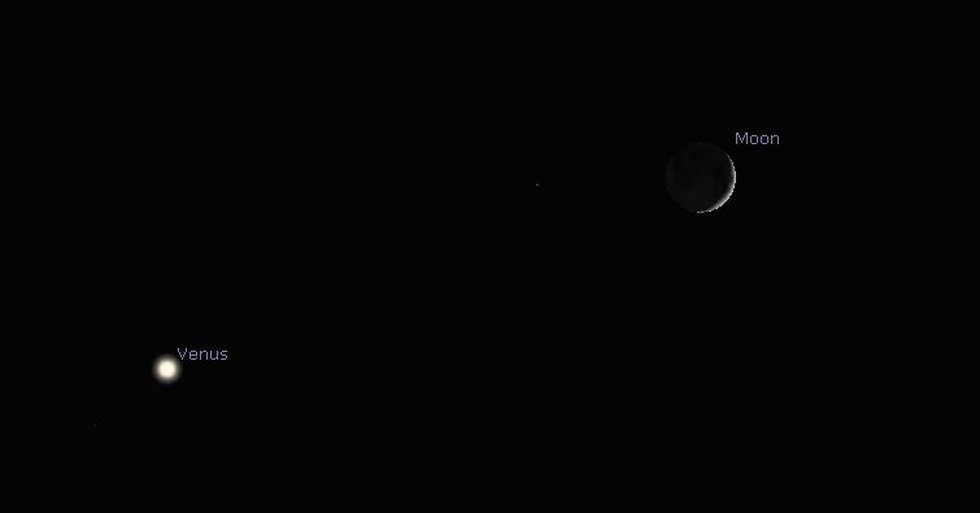 The thin crescent moon will be to the upper right of Venus Thursday night.