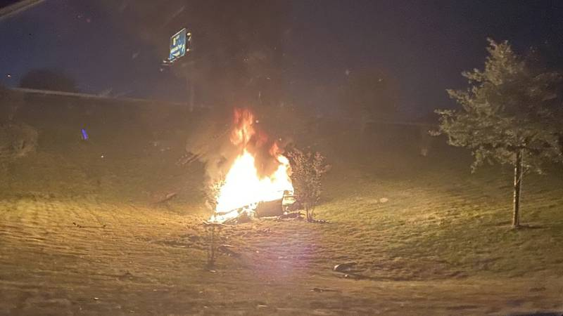A car was engulfed by flames after a hit-and-run crash in Chesterfield