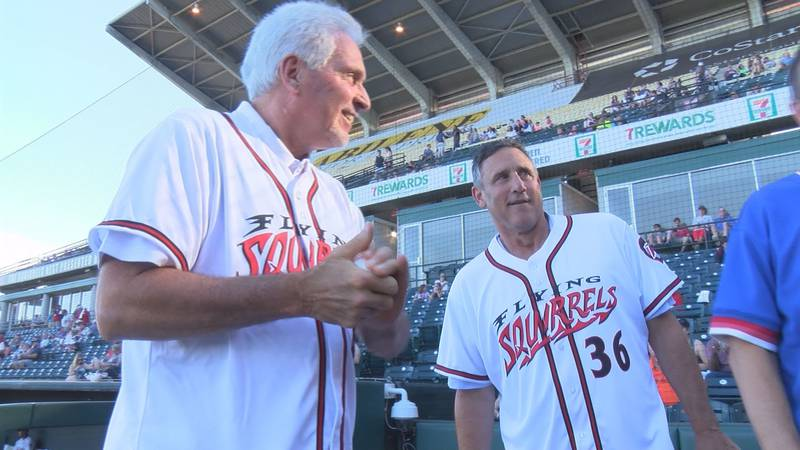 Former Richmond Braves' players Charlie Puleo and Brad Komminsk prepare to throw out ceremonial...
