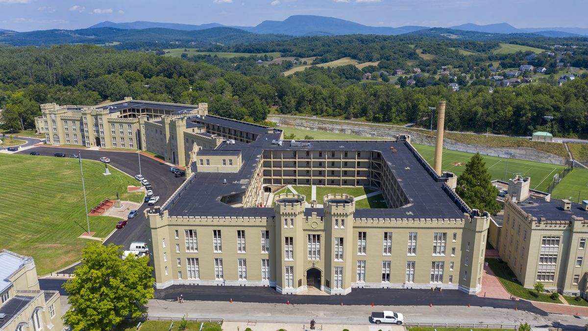 FILE - This July 15, 2020 file photo shows the barracks at Virginia Military Institute in...