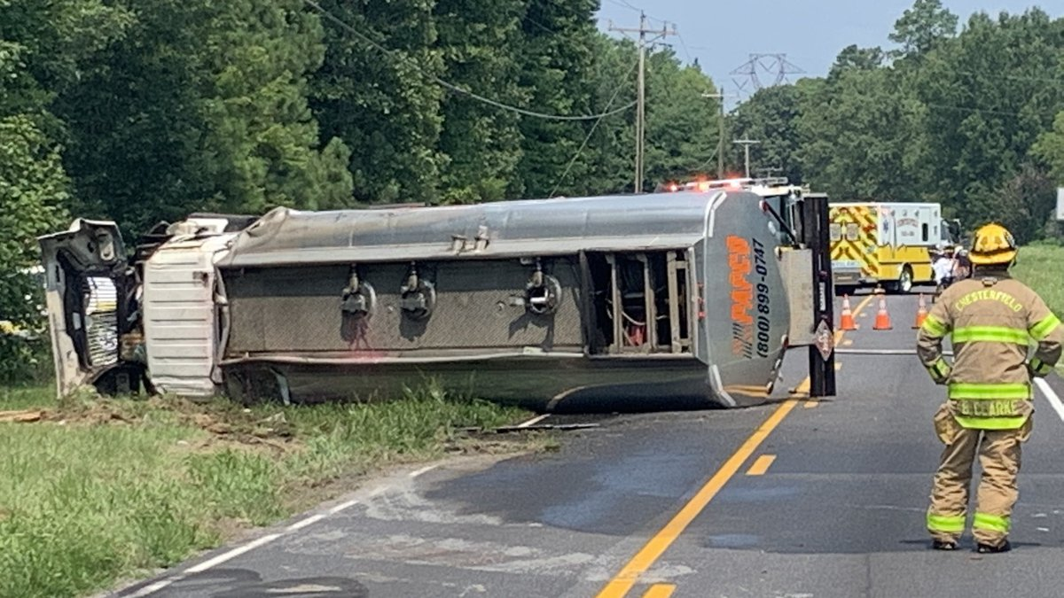 Photos posted by Chesterfield law enforcement show the tanker truck on its side on River Road.
