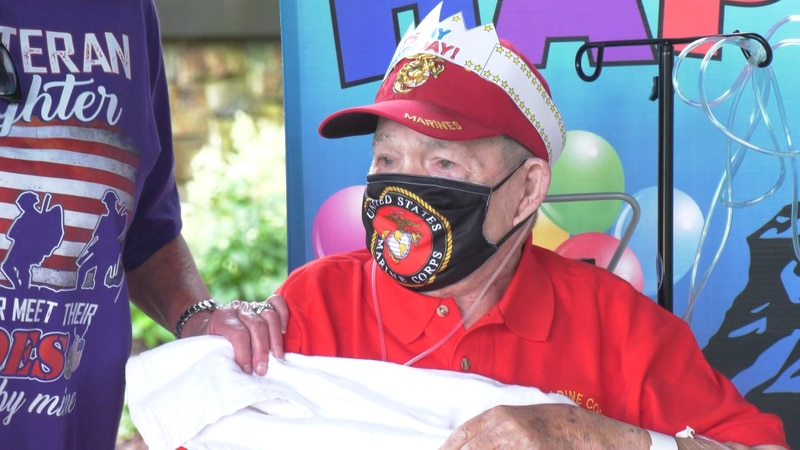 "Charles Berton ""Bert"" Mulligan, a U.S. Marine veteran who fought in the World War II Battle of..."