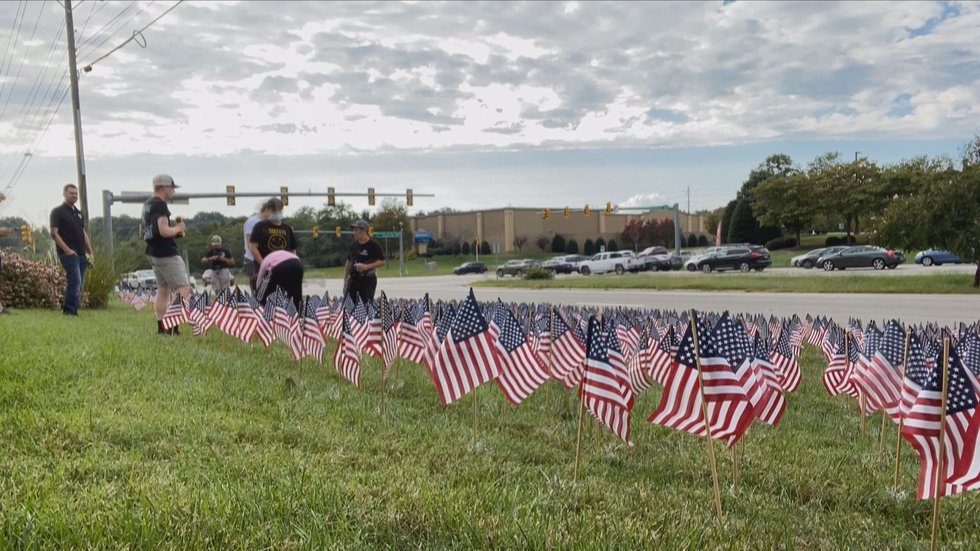For the second year, the James River High School Navy Junior ROTC program planted 2,977 flags...