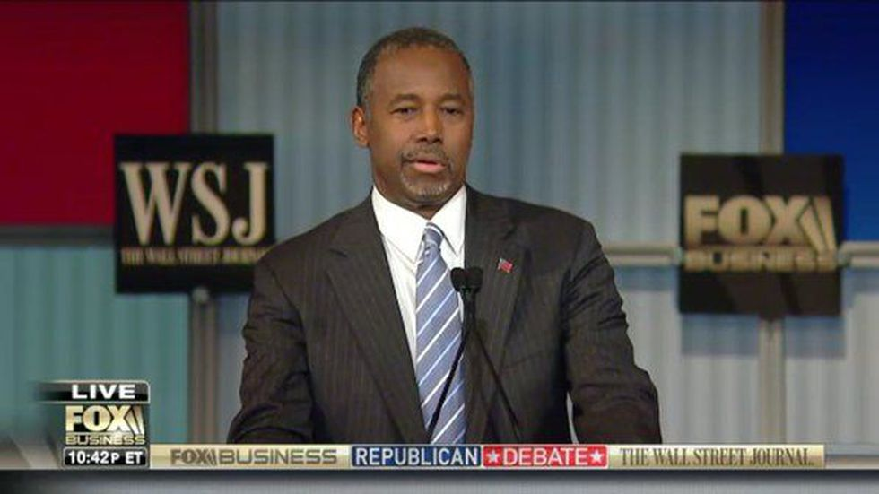 Dr. Ben Carson appearing at the FOX Business & Wall Street Journal Republican Debate