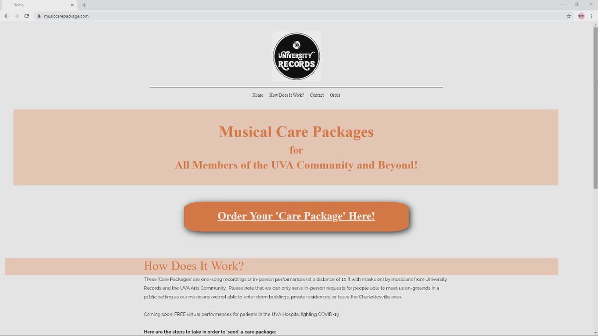 UVA is now offering Musical Care packages for people to send virtually or in-person as a way to...