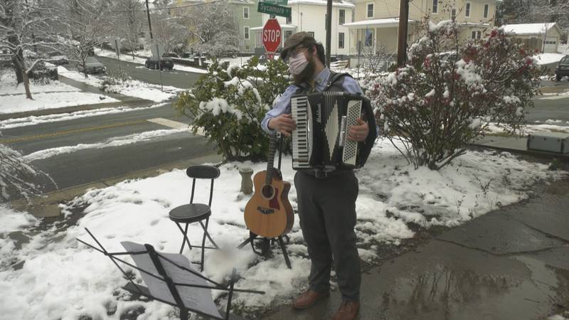 Matthew O'Donnell serenades people on Valentine's Day