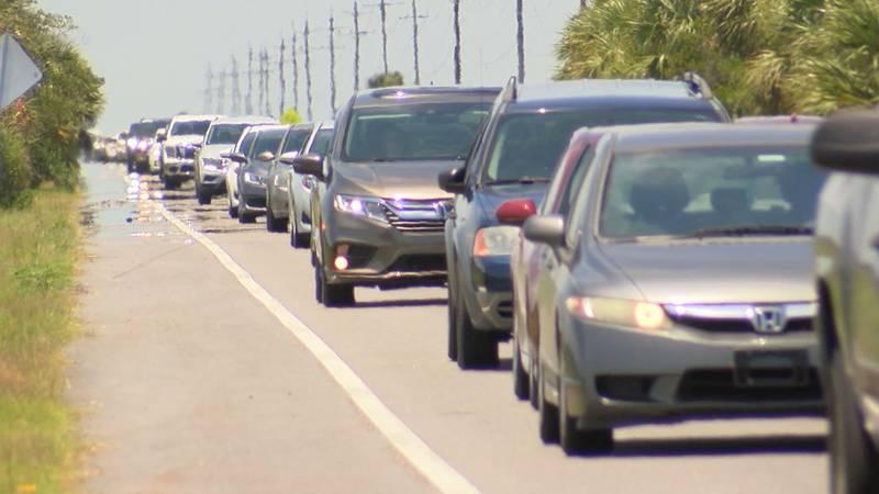 Traffic getting onto Tybee Island Sunday of Memorial Day weekend.
