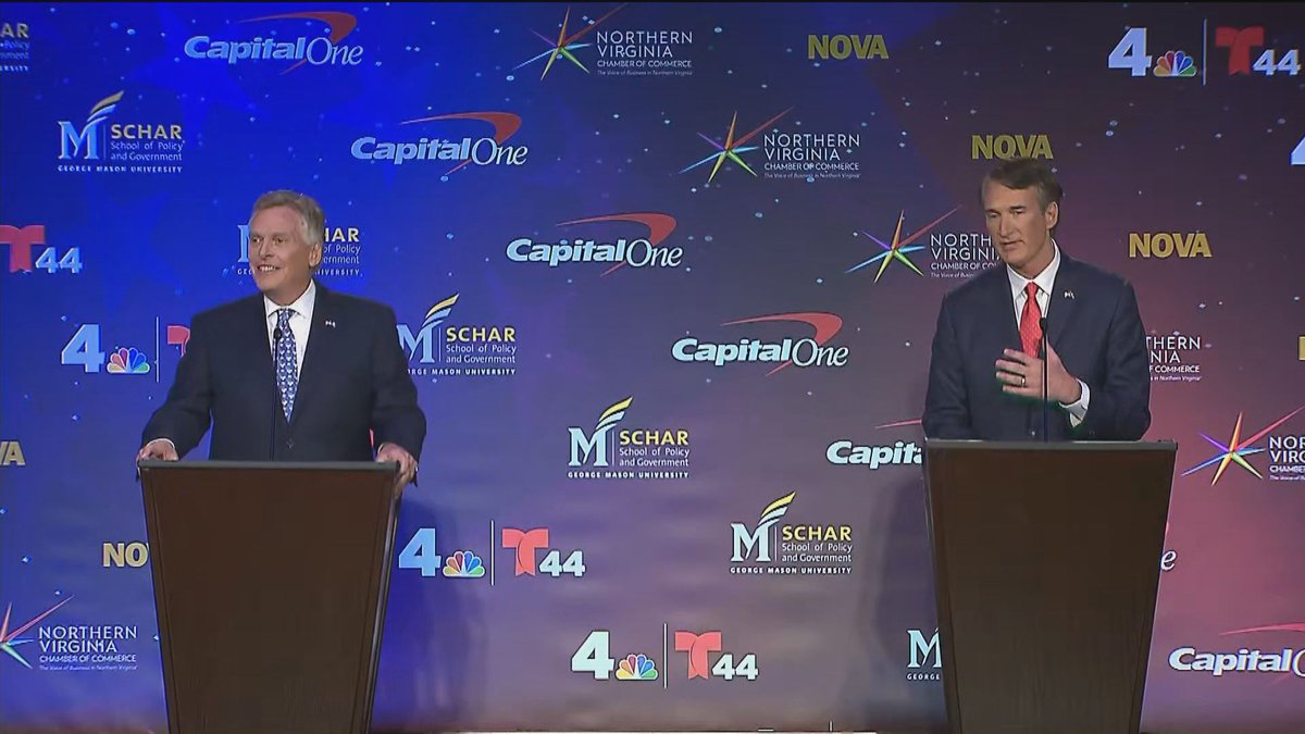 Terry McAuliffe (left) and Glenn Youngkin (right) at the Virginia's second gubernatorial debate...
