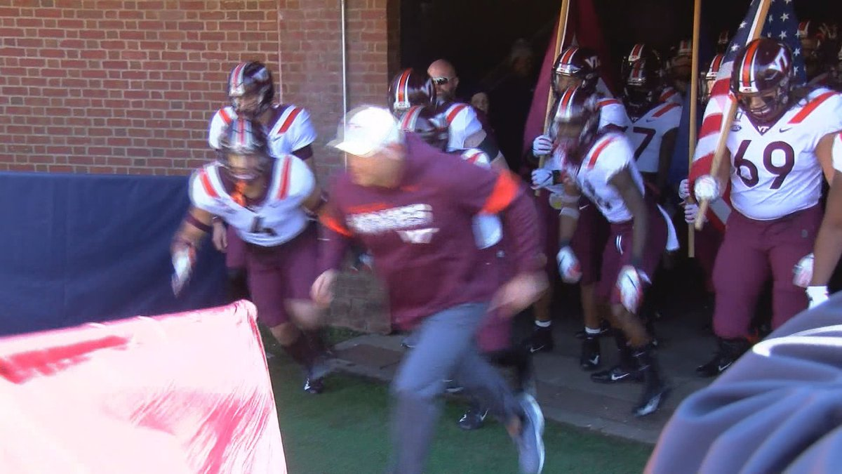 Virginia Tech takes the field before its rivalry showdown with UVA on November 29, 2019.