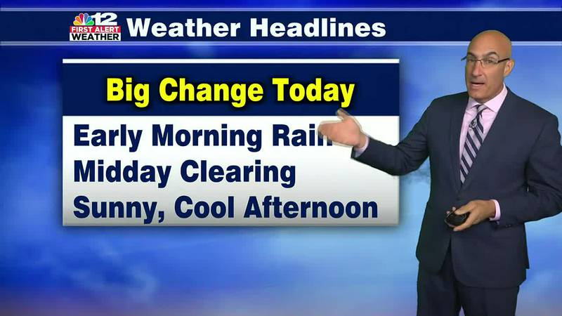 Thursday Forecast:  Season-Changing cold front brings early morning rain, then clearing skies