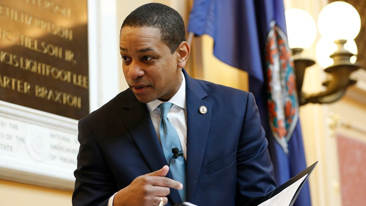 Virginia Lt. Gov Justin Fairfax looks over a briefing book prior to the start of the senate...