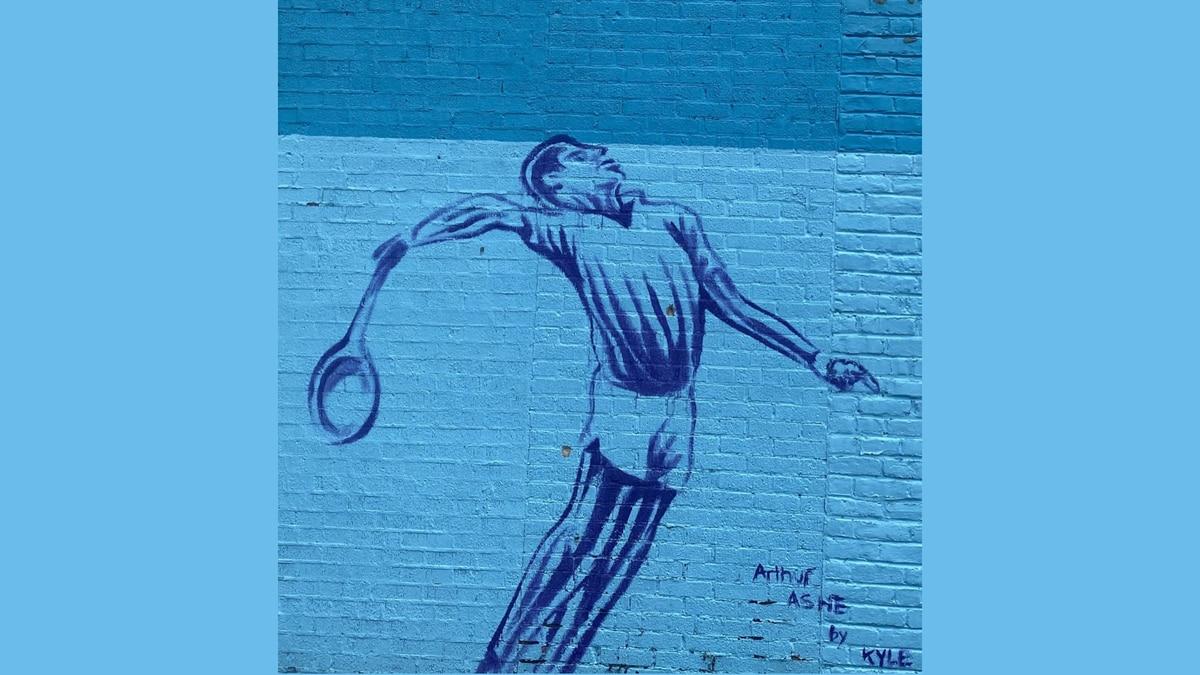 Arthur Ashe mural by artist Kyle Holbrook.
