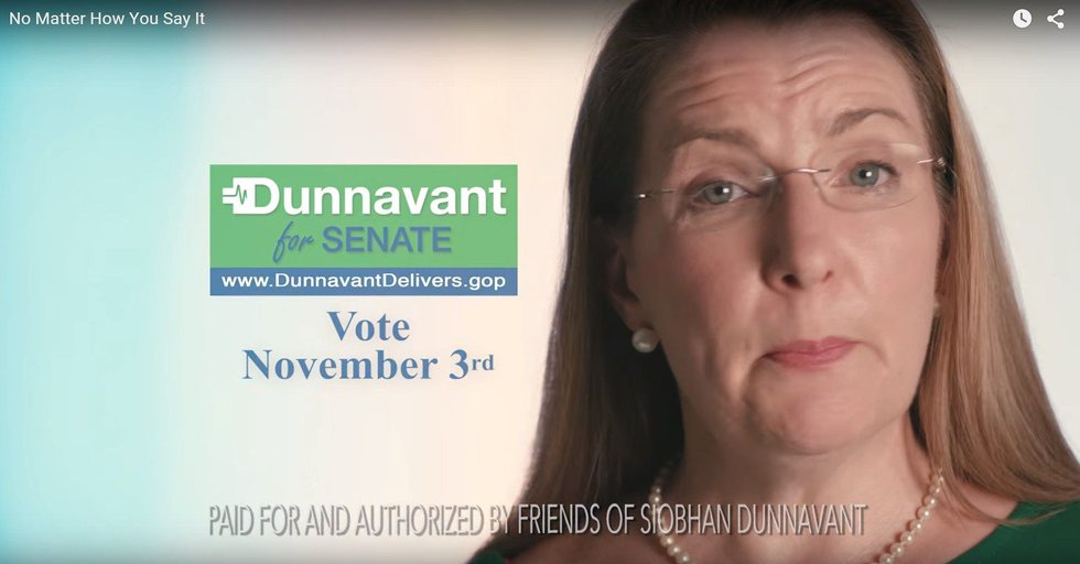 Campaign advertisement for Republican candidate Dr. Siobhan Dunnavant