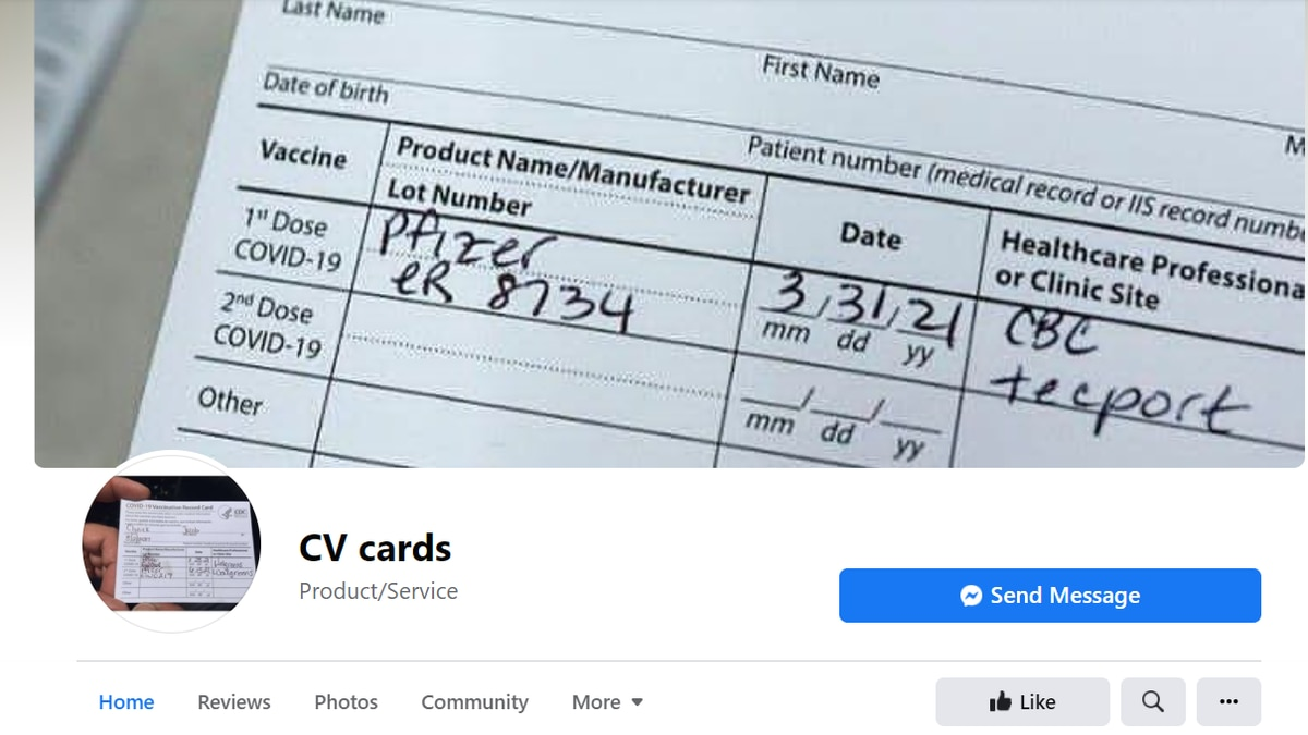 Facebook page advertising blank covid-19 vaccination cards, available through messenger.