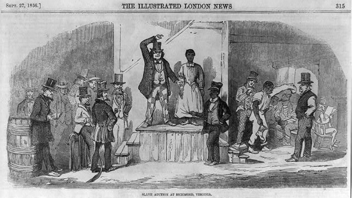 African American woman being auctioned off in front of crowd of men in Richmond, Virginia -...