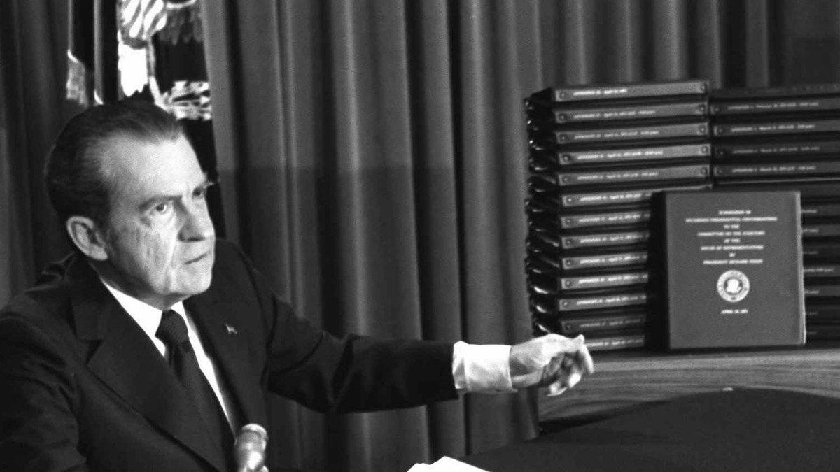 Richard M. Nixon, as US President, announces intention to provide House impeachment...