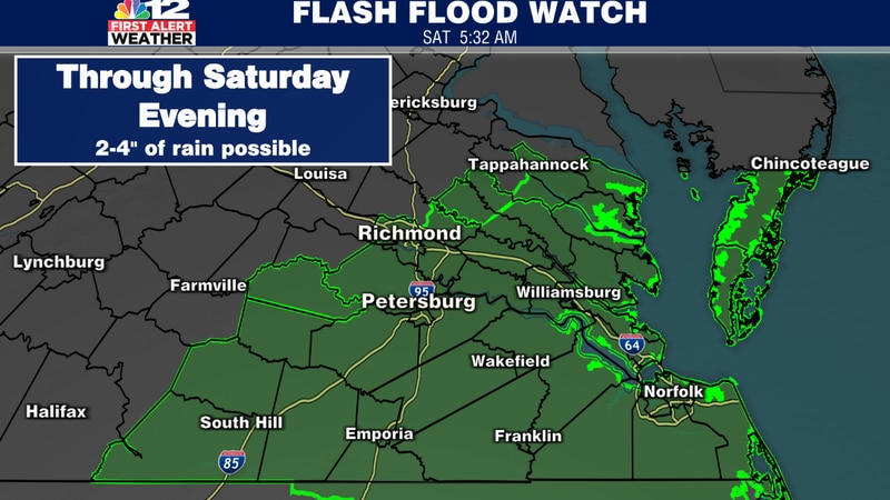 Flash flood watch from 6am-10pm