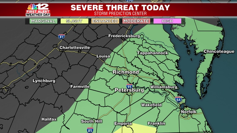 The severe risk is low for Central Virginia.