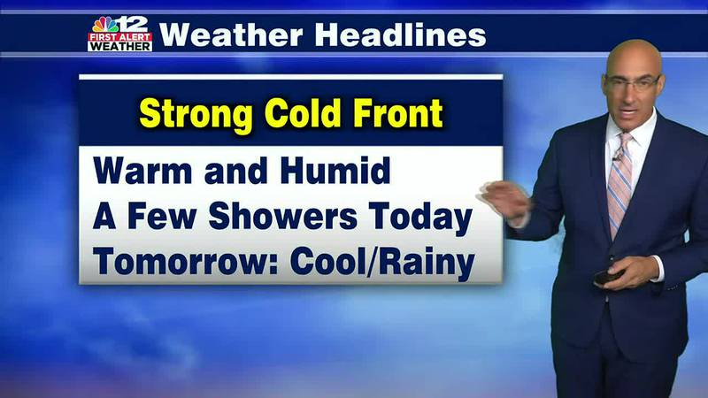 Wednesday Forecast:  Warm and Humid with a few showers, More rain tomorrow